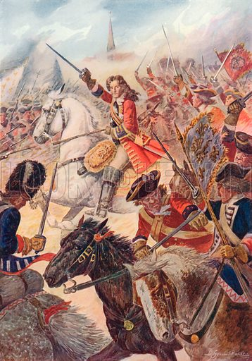 The Duke of Marlborough at the Battle of Ramillies, May 23rd, 1706. Illustration for British Battles on Land and Sea by Sir Evelyn Wood (Cassell, 1915).