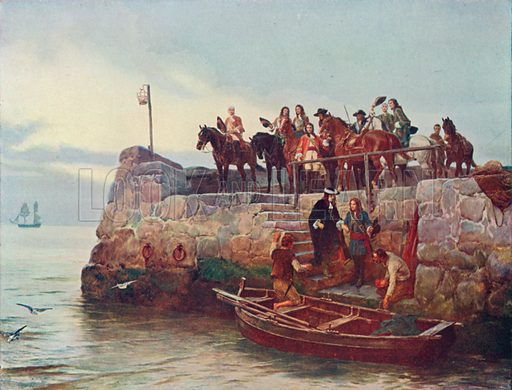 A Lost Cause: The Flight of James II after the Battle of the Boyne, 1690. Illustration for British Battles on Land and Sea by Sir Evelyn Wood (Cassell, 1915).