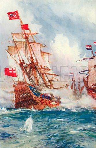 When Blake Swept the Seas: A Battle between Admiral Blake and Van Tromp. Illustration for British Battles on Land and Sea by Sir Evelyn Wood (Cassell, 1915).