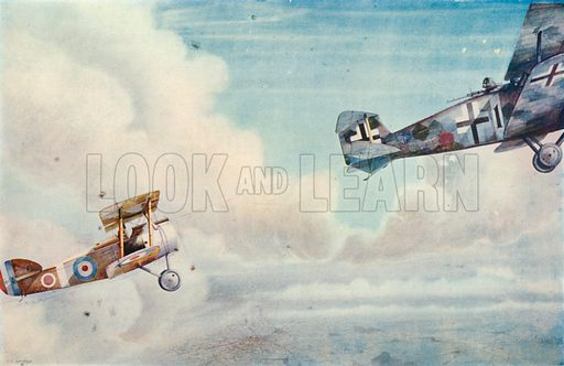 An Aerial Duel: The Blind Spot. Illustration for Cassell's History of the British People (c 1910).