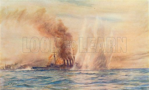 Southampton in the Battle of Jutland. Illustration for Cassell's History of the British People (c 1910).