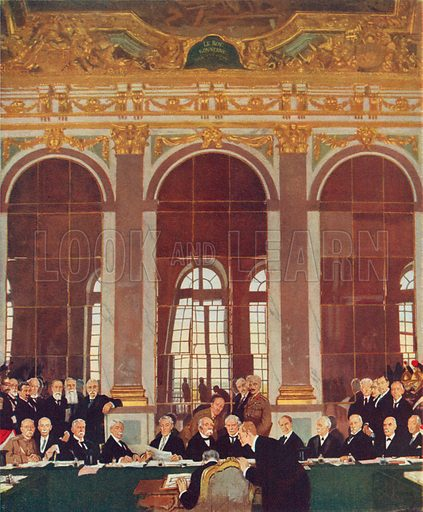 Signing of Peace in the Hall of Mirrors, Palace of Versailles, June 28, 1919. Illustration for Cassell's History of the British People (c 1910).