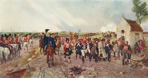 Wellington's March from Quatre Bras to Waterloo. Illustration for Cassell's History of the British People (c 1910).