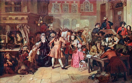 The South Sea Bubble: A Scene in Change Alley in 1720. Illustration for Cassell's History of the British People (c 1910).
