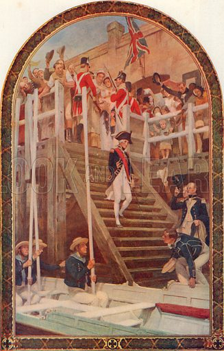 Nelson Leaving Portsmouth, May 18, 1803, to join HMS Victory. Illustration for Cassell's History of the British People (c 1910).