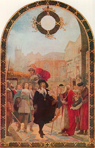 Charles I Demanding the Five Members at the Guildhall, 1641–2. Illustration for Cassell's History of the British People (c 1910).