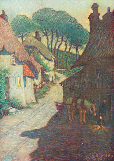 Thurlestone Village, South Devon. Illustration for Hutchinson's Britain Beautiful (c 1910).