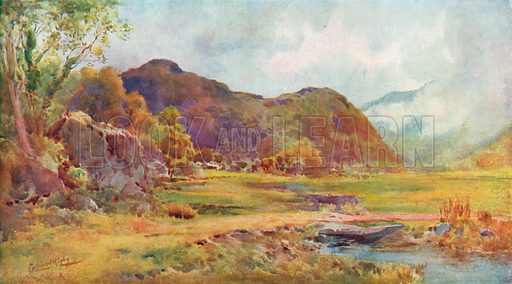 On the Marsh near Lodore, Cumberland. Illustration for Hutchinson's Britain Beautiful (c 1910).