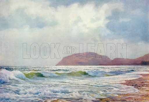 A Stormy Day near Llandudno. Illustration for Hutchinson's Britain Beautiful (c 1910).