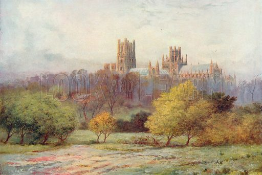 Ely Cathedral. Illustration for Hutchinson's Britain Beautiful (c 1910).
