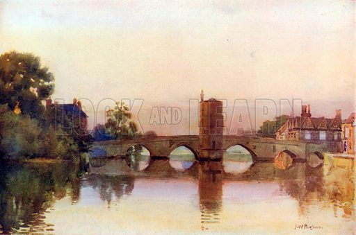 The Ouse at St Ives. Illustration for Hutchinson's Britain Beautiful (c 1910).