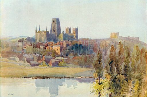 Durham Cathedral from the River. Illustration for Hutchinson's Britain Beautiful (c 1910).