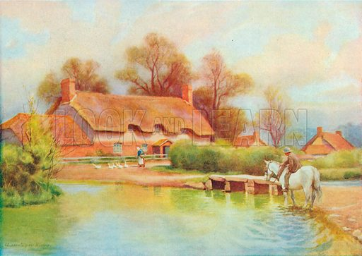 Cottages at East Burton. Illustration for Hutchinson's Britain Beautiful (c 1910).