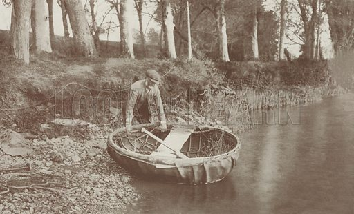 Launching a Coracle on the River Boyne. Illustration for Hutchinson's Britain Beautiful (c 1910).