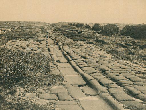 Roman Road on Blackstone Edge. Illustration for Hutchinson's Britain Beautiful (c 1910).