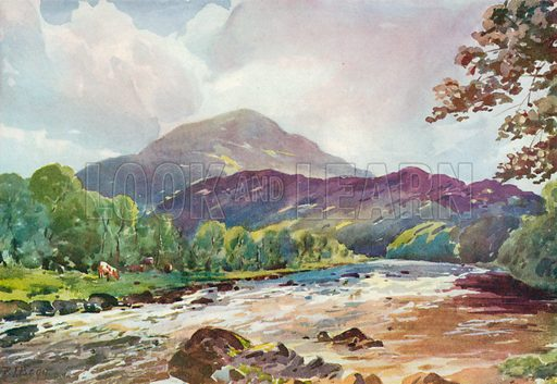 On the Teith near Callander, Perthshire. Illustration for Hutchinson's Britain Beautiful (c 1910).