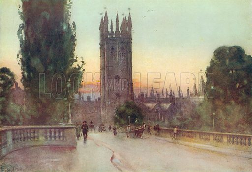 Magdalen Tower, Oxford. Illustration for Hutchinson's Britain Beautiful (c 1910).