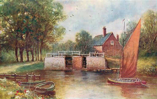 Coltishall Lock, Norfolk. Illustration for Hutchinson's Britain Beautiful (c 1910).