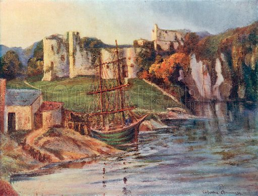 Chepstow Castle, Monmouth. Illustration for Hutchinson's Britain Beautiful (c 1910).