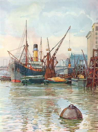 The Pool of London. Illustration for Hutchinson's Britain Beautiful (c 1910).