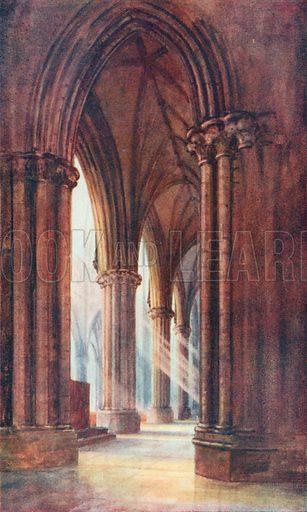 Interior, Lincoln Cathedral. Illustration for Hutchinson's Britain Beautiful (c 1910).