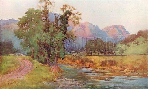 Yewdale Crags, Coniston. Illustration for Hutchinson's Britain Beautiful (c 1910).