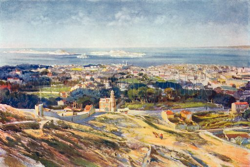 A View of Marseilles and the Mediterranean. Illustration for The Spendour of France (Hutchinson, c 1910).