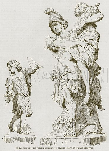 Aeneas Carrying his Father Anchises. Illustration for The Works of Eminent Artists (Cassell, 1854).