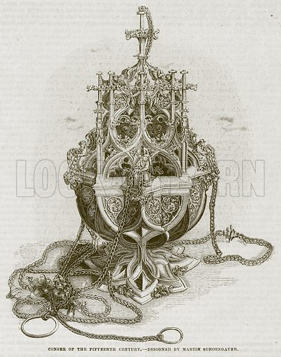 Censer of the Fifteenth Century. Illustration for The Works of Eminent Artists (Cassell, 1854).