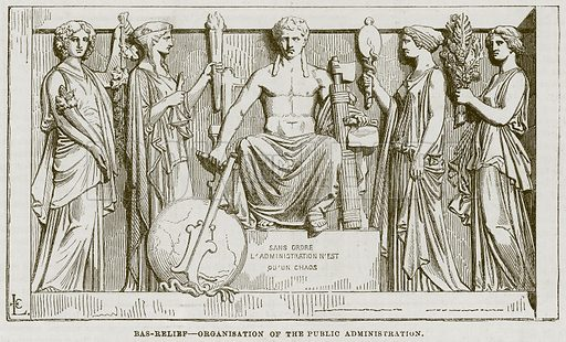 Bas-Relief – Organisation of the Public Administration. Illustration for The Works of Eminent Artists (Cassell, 1854).