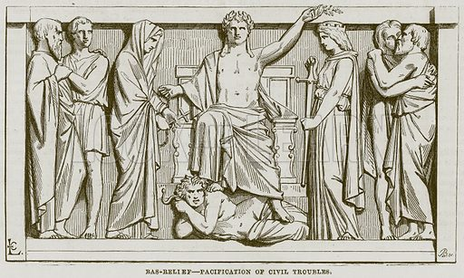Bas-Relief – Pacification of Civil Troubles. Illustration for The Works of Eminent Artists (Cassell, 1854).