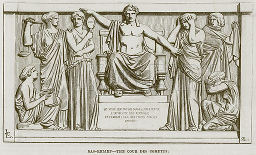Bas-Relief – The Cour des Comptes. Illustration for The Works of Eminent Artists (Cassell, 1854).