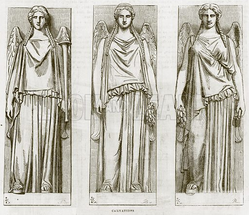 Caryatides. Illustration for The Works of Eminent Artists (Cassell, 1854).