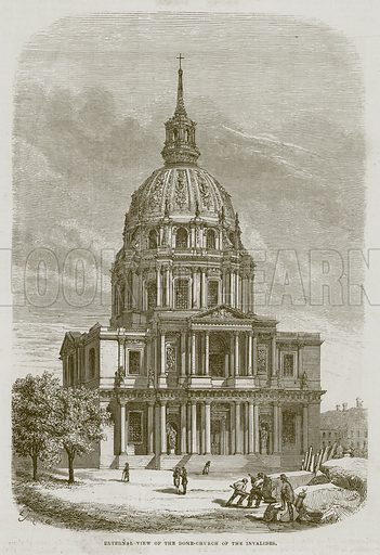 External View of the Dome-Church of the Invalides. Illustration for The Works of Eminent Artists (Cassell, 1854).