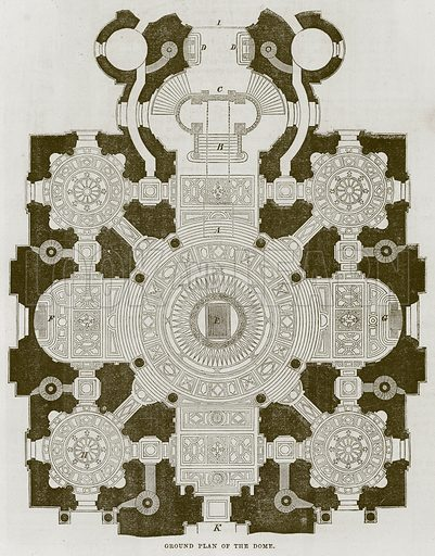 Ground Plan of the Dome. Illustration for The Works of Eminent Artists (Cassell, 1854).
