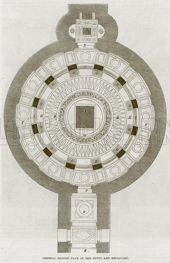 General Ground Plan of the Crypt and Reliquary. Illustration for The Works of Eminent Artists (Cassell, 1854).