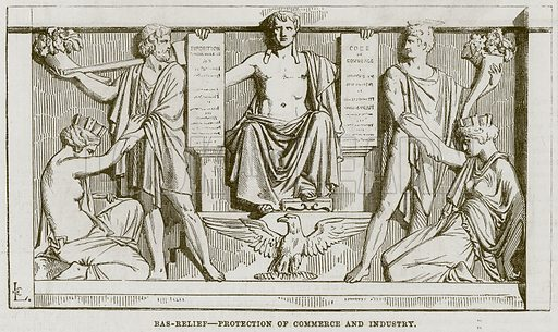 Bas-Relief – Protection of Commerce and Industry. Illustration for The Works of Eminent Artists (Cassell, 1854).