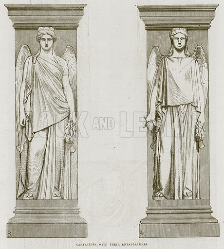 Caryatides with their Entablatures. Illustration for The Works of Eminent Artists (Cassell, 1854).