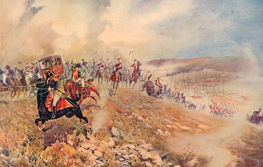 The Flight of King Joseph Bonaparte from Vittoria, June 21st, 1813. Illustration for Battles on Land and Sea by Sir Evelyn Wood (Cassell, 1915).