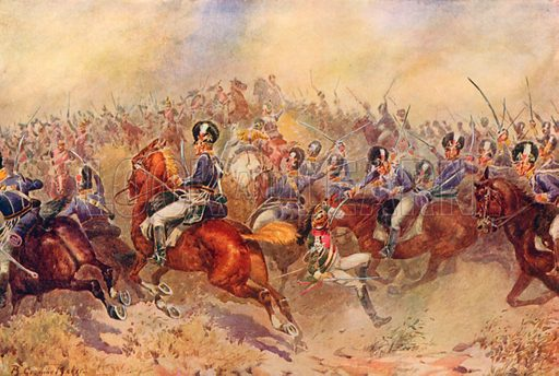 The 12th Light Dragoons at Salamanca, July 22nd, 1812. Illustration for Battles on Land and Sea by Sir Evelyn Wood (Cassell, 1915).