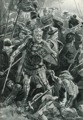 Henry V and the Duc D'alencon at the Battle of Agincourt, October 25th, 1415. Illustration for Battles on Land and Sea by Sir Evelyn Wood (Cassell, 1915).