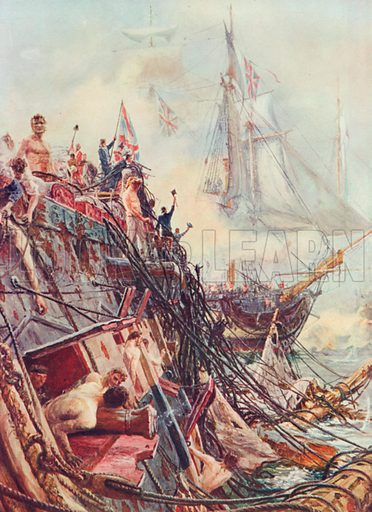"""Crippled but Unconquered: The """"Belleisle"""" at Trafalgar, Oct. 21st, 1805. Illustration for Battles on Land and Sea by Sir Evelyn Wood (Cassell, 1915)."""