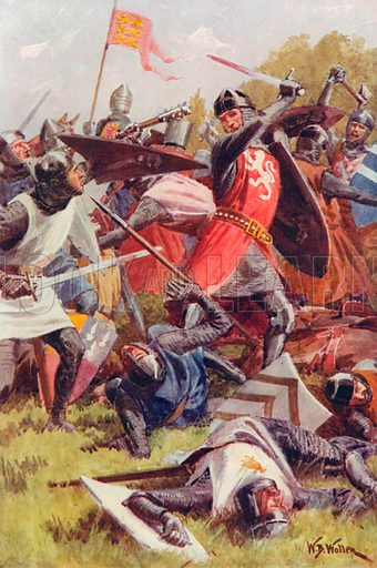 The Battle of Evesham, August 4th, 1265. Illustration for Battles on Land and Sea by Sir Evelyn Wood (Cassell, 1915).