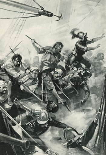 The English Repelling the Spaniards at San Juan de Ulua. Illustration for Battles on Land and Sea by Sir Evelyn Wood (Cassell, 1915).