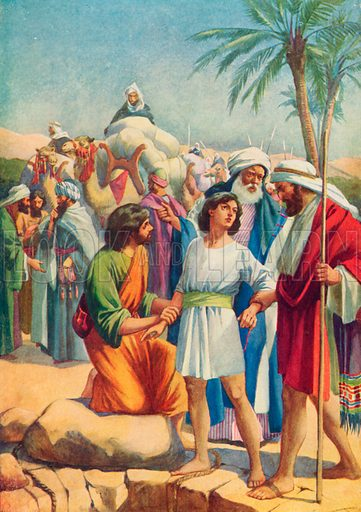 Joseph sold by his brothers. Illustration for The Bible Picture Book.
