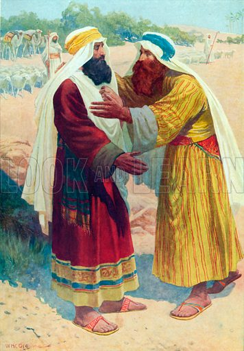 The Meeting of Jacob and Esau. Illustration for The Bible Picture Book.