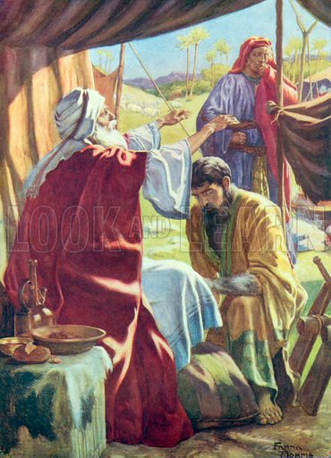Jacob Obtaining the Blessing. Illustration for The Bible Picture Book.