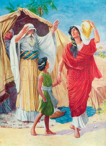 Hagar and Ishmael. Illustration for The Bible Picture Book.