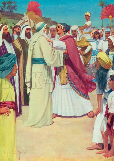 Jacob and Joseph Meet. Illustration for The Bible Picture Book.