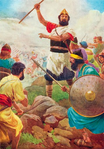 Saul Gains his Kingdom. Illustration for The Bible Picture Book.